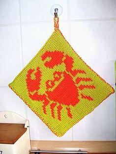 DF-Topflappen Krebs 2 pattern by maku flo Double Knitting, Washing Clothes, Free Design, Free Pattern, Knit Crochet, Knitting Patterns, Blanket, Knits, Cloths