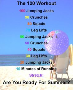 Are you ready for summer? I know i'm not! I  absoutly love this work out! It does a great job of toning the whole body just in time for summer! Just a fair warning the first couple of days suck but the results are worth it! If you are not normally exercising every day start off this workout 1 step at a time and gradually add on when you feel ready. Good luck and enjoy! :)
