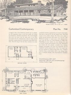 Vintage House Plans: French Provincial, French Split-Level, A-Frame Chalet and Twin Bedroom Colonial House Plans, Ranch House Plans, Modern House Plans, Small House Plans, House Floor Plans, The Plan, How To Plan, Mcm House, I Love House