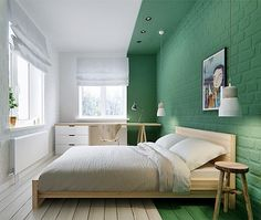 Total white walls are disappearing, embrace the latest interior trends with these original color blocking decor ideas for your home Colour Blocking Interior, Color Blocking, Home Bedroom, Bedroom Decor, Brick Bedroom, Bedrooms, Bedroom Lighting, Bedroom Ideas, Open Floor House Plans