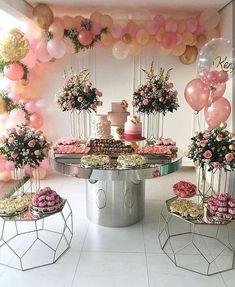 Birthday ideas romantic bridal shower 51 ideas for 2019 Bridal Shower Decorations, Balloon Decorations, Birthday Party Decorations, Wedding Decorations, Birthday Ideas, Party Themes, 25th Birthday Parties, Pink Party Decorations, Birthday Brunch