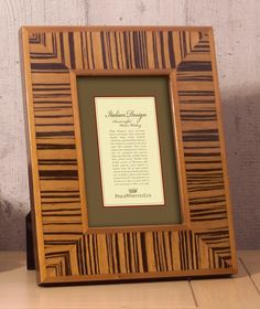 Light Zebra Thick Wood Picture Frame