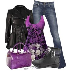 A fashion look from January 2013 featuring Alexander McQueen jackets, 7 For All Mankind jeans and Charlotte Russe ankle booties. Browse and shop related looks. Purple Shirt Outfits, Komplette Outfits, Fall Outfits, Casual Outfits, Fashion Outfits, Womens Fashion, Purple Shirts, Batman Outfits, Polyvore Outfits