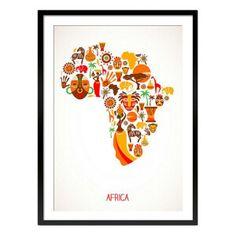 Cuadro enmarcado África blanco y naranja  70 x 1,6 x 50 cm