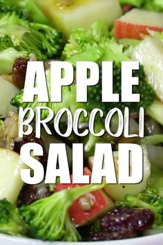 Chopped broccoli and apples mixed with nuts and raisins is the perfect vegan salad recipe veganinthefreezer salads sides brunch healthy veganrecipes Chicken Salad Recipes, Healthy Salad Recipes, Raw Food Recipes, Vegetarian Recipes, Burger Recipes, Dessert Recipes, Dinner Salad Recipes, Plant Based Dinner Recipes, Best Vegan Salads