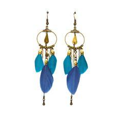 Boucles d'oreille plume bleu et turquoise, anneau et goutte bronze -Bijoux ENORA-