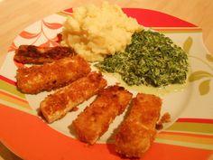 Vegan CooKing: Vischstäbchen mit Kartoffelbrei und Rahmspinat