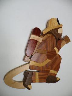 Firefighter Intarsia Woodwork Handmade by hazzwoodwork on Etsy, $275.00