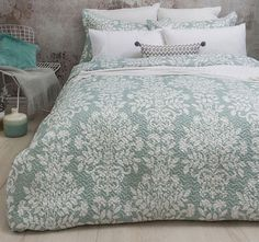 Louise Embossed Coverlet Set by Bambury An Embossed Coverlet design featuring a damask print in a beautiful soft green colour (Seafoam) Easy care polyester mic Coverlet Bedding, Linen Bedding, Comforters, Stylish Beds, King Beds, Quilt Cover, Bed Sheets, Sweet Home, Cushions