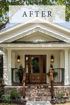 24 Adorable Brick House Exterior Makeover – lmolnar – Home Renovation Exterior House Colors, Exterior Design, Diy Exterior, Exterior Remodel, Brick House Exteriors, Exterior Doors, Home Exteriors, Black Windows Exterior, Cafe Exterior