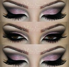 Beautiful bright pink  smokey eyes