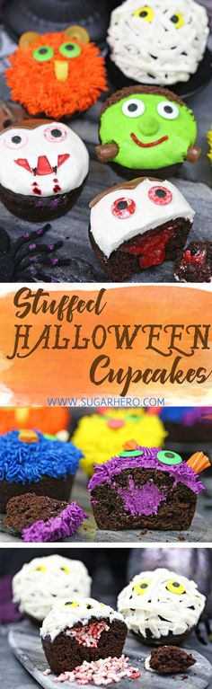 Stuffed Halloween Cupcakes - just like your favorite cream-filled cupcakes, only decorated with cute (and EASY) Halloween designs! | From SugarHero.com