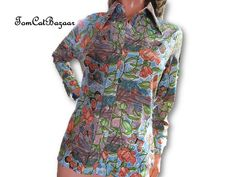 Vintage Blouse, 60s, Psychedelic, Thin Poly Knit, Butterfly Print, Flare Collar, 70s, Boho, Hippie, Butterflies, Flower Power, Retro Shirt by TomCatBazaar on Etsy