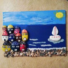 Sipariş icin DM… Pebble Painting, Pebble Art, Stone Painting, Stone Cactus, Inspiration Artistique, Nautical Theme Decor, Rock And Pebbles, Stone Pictures, Rock Decor