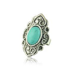 Tibetan Silver Turquoise Ring 1.47 on Yumfeel Wholesale (Mix Minimum Order USD10), AliExpress.com
