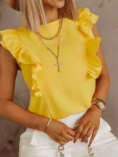 Chiffon Shirt, Ruffle Blouse, Chic Type, Tie Shorts, Yellow Blouse, Womens Fashion Online, African Dress, Colorful Fashion, Amazing Women