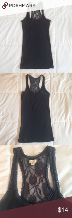 Lace tank In great condition Gilly Hicks lace back top tank. Color is navy. OFFERS WELCOMED.  🌸No trades🌸 Gilly Hicks Tops Tank Tops
