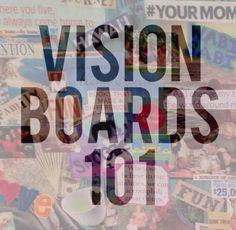 "Vision Boards 101 vi·sion board ˈvi-zhənˈbȯrd noun : a visual representation of your goals, dreams, and ideal life. : see also-""dream board"" or ""inspiration board"" How to create a vision board:..."