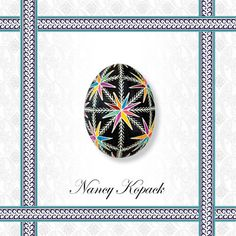 15. An easy Ukrainian Easter egg (pysanka) to make that relies on the repetition of a single design element with a pinwheel burst of color to create a harmoniously visual result. For more Pysanky examples click link to website.
