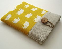 Kindle Cover Kindle Case Cute Kindle Sleeve - Elephants in Yellow Linen Sewing Hacks, Sewing Tutorials, Sewing Patterns, Book Sleeve, Ipad Sleeve, Fabric Crafts, Sewing Crafts, Sewing Projects, Capas Kindle