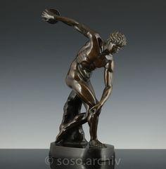 Diskobolus von Myron Bronze Grand Tour Skulptur Figur 1900 Athlet male nude   Antiquitäten & Kunst, Kunst, Plastiken & Skulpturen   eBay!