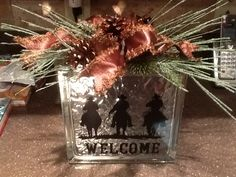 3 Cowboys Riding decal applied to a glass block (usually used for bathroom windows) to create a Welcome sign!