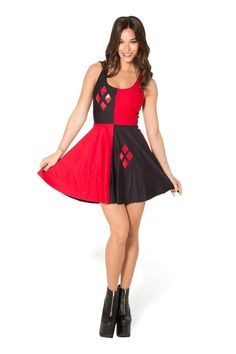 This dress can be worn scoop-front or racer-front. Because what's life without choices? Someone light the bat signal--our black and red Harley Quinn Reversible Skater dress is no joke. This frisky dre