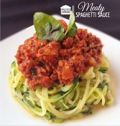 Easy and flavorful Paleo Meaty Spaghetti sauce - serve over zucchini noodles or my paleo pasta recipe!