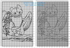 Copertina neonato filet uncinetto schema gratis con Hiccup e Sdentato personaggi di Dragon Trainer