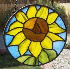 Sunflower Stained Glass Window Suncatcher ~ by SunflowerGlassworks