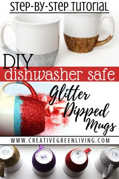 How to Make Glitter Dipped Mugs Learn how to make an easy DIY glitter dipped mug craft. This is an easy homemade gift idea that's perfect for the glitter lover on your Christmas list. What a fun way to personalize a mug! Mug Crafts, Easy Crafts, Food Crafts, Mason Jar Crafts, Mason Jar Diy, Diy Becher, Glitter Crafts, Glitter Art, Glitter Glue