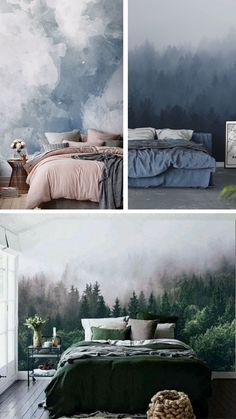 There is still time to catch up with the most prominent bedroom decor trends for 2019 . From wall murals to statement and upholstered beds to brass bedside tables and task lights. Dream Bedroom, Home Bedroom, Forest Bedroom, Bedrooms, Bedroom Inspo, Bedroom Colors, Bedroom Murals, Bedroom Decor, Wall Murals