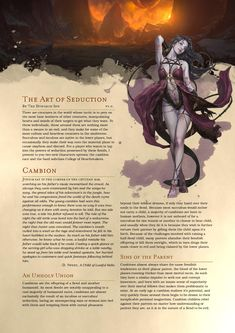 Post with 3151 views. The Art of Seduction: A succubus-inspired bard subclass and cambion race, for those of you who want to leave your enemies with wounded hearts Dungeons And Dragons Classes, Dungeons And Dragons Homebrew, Dungeons And Dragons Characters, Dnd Characters, Mythical Creatures Art, Mythological Creatures, Fantasy Creatures, Dnd Bard, Dnd Races