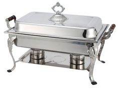 Winco - Crown Collection Chafing Dish Designed for Formal Occasions - 8 Qt. Full-size, with Dome Cover, Oblong