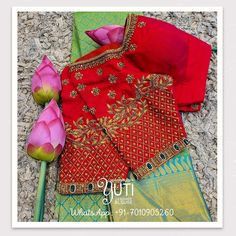 Fancy Blouse Designs, Bridal Blouse Designs, Saree Blouse Designs, Blouse Patterns, Zardosi Embroidery, Zardosi Work, Telugu Brides, Thread Work, Red Blouses