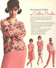 1963 Bobbie Brooks 2 60s And 70s Fashion, Teen Fashion, Vintage Fashion, Classic Fashion, Ladies Fashion, Vintage Ads, Vintage Pink, Vintage Style, 60s Style