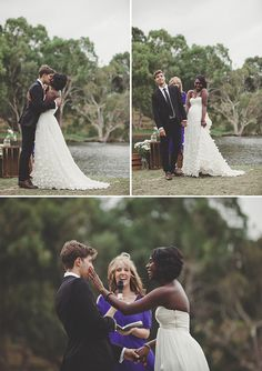 Beautiful interracial couple exchanging marriage vows in Western Australia #love #wmbw #bwwm