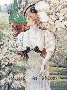 Spring Summer Dress 1907 ~ Vintage Fashion ~ Cross Stitch Pattern #StoneyKnobFarmHeirlooms #Frame