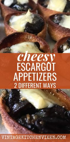 There's something classic about escargots sautéed in herbed garlic butter and covered with melted gruyère cheese. Here is one easy escargot recipe and two different ways to serve up these elegant appetizers. #escargots #escargot #escargotrecipe #appetizerrecipes #appetizerideas #easyappetizers #partyfood  #horsdoeuvres