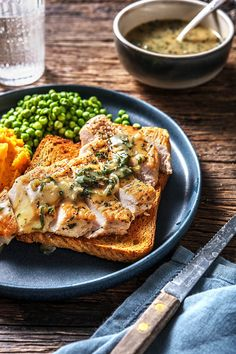 Sliced roast turkey is piled high on garlic toast and slathered in hot sage gravy! Creamy sweet potato mash and green peas round out this comforting family dinner. Turkey Recipes, Dinner Recipes, Weeknight Meals, Easy Meals, Hello Fresh Recipes, Good Food, Yummy Food, Turkey Sandwiches, Cooking Recipes
