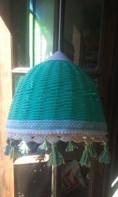 Lamparas De Mimbre Decoradas A Crochet X Pedido 40 X 30