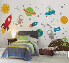 Space wall decal Planets Astronaut Boy Star Children by NouWall Boys Bedroom Decor, Baby Bedroom, Baby Boy Rooms, Kids Room Organization, Space Theme, Room Paint, New Room, Decoration, Star Children