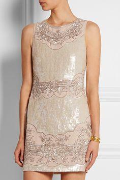 Needle & Thread|Embellished crepe de chine mini dress|NET-A-PORTER.COM