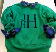 Boys Stacked Monogrammed Crewneck Sweatshirt Children Youth Large Monogram Block by bubblesemb on Etsy