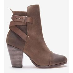 Rag & Bone Kinsey Brown Waxed Suede Ankle Boot ($595) ❤ liked on Polyvore