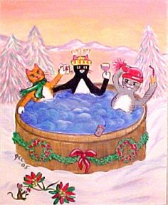 Holiday Hot Tub For 3 .......and one little mouse watching      by georgette livingston