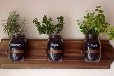 Who says herb gardens have to stay outside? Display your greenery indoors with this hanging planter, complete with chalkboard strips for labeling. (Place gravel or clay shards at the bottom of the jars to avoid rot.) ($28, nicolemarilyn.etsy.com)   - CountryLiving.com