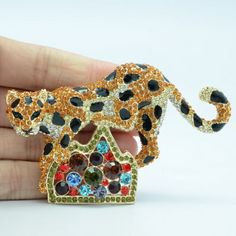 Rhinestone Brooches Women Brown Leopard Panther on Hill Animal Broach - http://rolandosgiftshop.com/products/rhinestone-brooches-women-brown-leopard-panther-on-hill-animal-broach-pin-women-accessories-fa3180-free-shipping/
