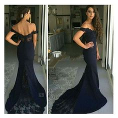 Open Back with Lace Style Off the Shoulder Sexy Mermaid Prom Dress Formal Women Evening Gown