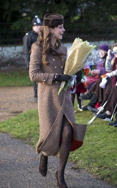 The Duchess of Cambridge was polished in a tweed coat by Moloh for Christmas Day 2014.